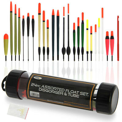 24 Fishing Floats With Float Tube Float Rubbers And Disgorger Ngt Tackle Set • 11.95£