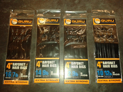 Guru 4  Pre-Tied Barbless Method Hair Rigs With Bayonets  • 2.99£