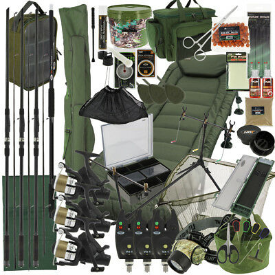 NGT BIG BOY Complete Carp Fishing Setup 3x Rods 3x Reels Tackle Holdall Bedchair • 477.97£