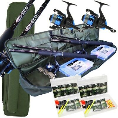 Travel Fishing Rod Reel Set With Rod Holdall Floats Rigs Weights Tackle Box • 50.77£