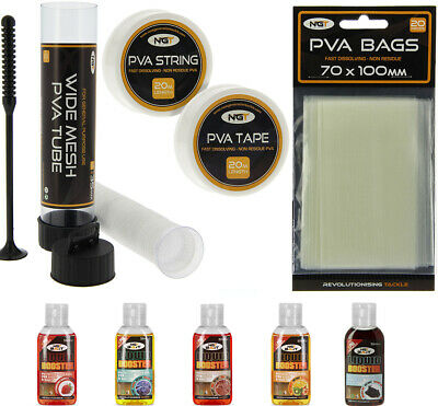 Carp Fishing PVA Set & 5 Liquids With Wide Tube Plunger + 7M Tape + Bags NGT  • 16.45£