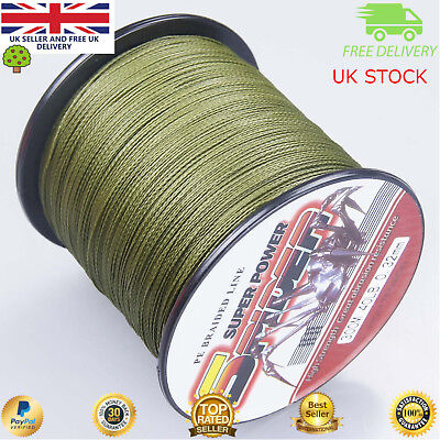 Super Dyneema 100-2000M  40LB Fishing Braid Carp Line Army Green Spod Marker • 16.99£