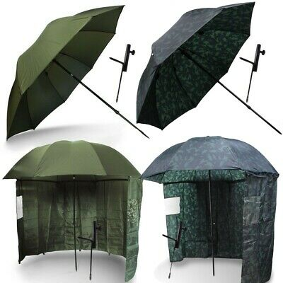 Fishing Brolly Umbrella Shelter With Tilt Action Green Camo Carp Fishing • 44.95£