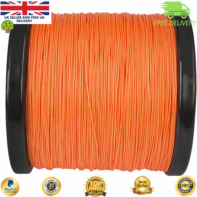 Super Dyneema 100-2000M  15-90LB Fishing Braid Carp Line Army Orange Spod Marker • 16.99£