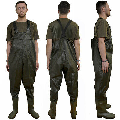 PVC Waterproof Chest Waders Size 7 8 9 10 11 12 Fly Coarse Fishing Flooding Work • 23.95£