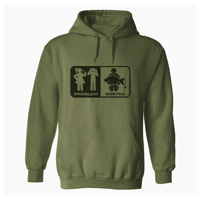 PROBLEM / SORTED Original Olive Green Mens Fishing Hoodie Angling Hoody Clothing • 22.99£