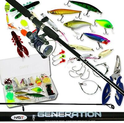 Spinning Fishing Rod & Reel Full Set With 111Pc Lures Tackle Box Bass Pike Trout • 40.91£