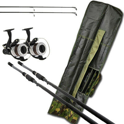 2x Carp Fishing Rods 12ft & 2 X Bait Runner Reels With Line &  Rod Holdall Bag  • 92.82£