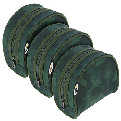 3 X NGT CAMO Carp Coarse Padded PVC Backed Green Fishing Tackle Reel Case Set • 12.95£
