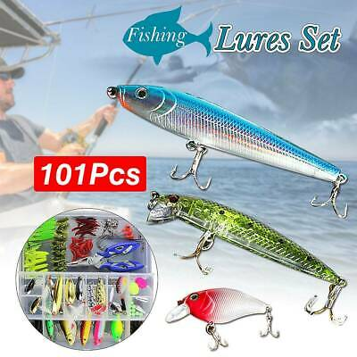 101Pcs Fishing Lures Spinners Plugs Spoons Soft Bait Pike Trout Salmon+Box Set K • 11.99£