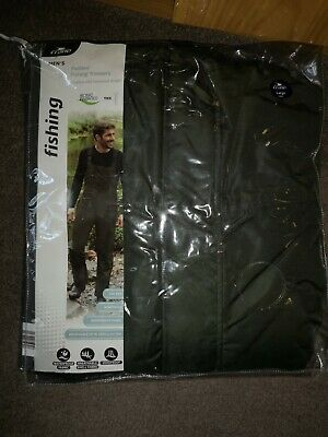 New Crane Men's Fishing Padded Trousers With Braces, Size  Large, Dark Green,  • 12£