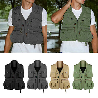 Men Working Multi Pockets Outdoor Travel Fishing Vest Hunting Photography Gilet • 15.04£