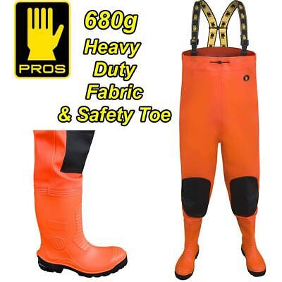 PROS 680g  SAFETY HI-VIS DELUXE HEAVY DUTY CHEST WADERS FISHING STEEL TOE CAP • 79.99£