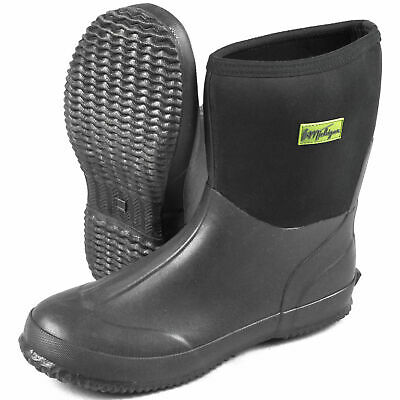Michigan Black Neoprene Waterproof Outdoor Garden Wellington Boots • 19.99£