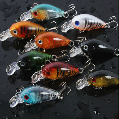 5pcs Fishing Lures Crankbaits Treble Hooks Randomly Baits Tackle Bass Minnow • 1.88£