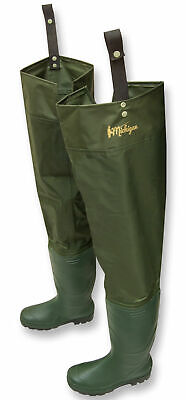 Michigan Nylon Waterproof Fly Coarse Fishing Hip Waders Sizes 6 - 12 Thigh Boots • 12.99£