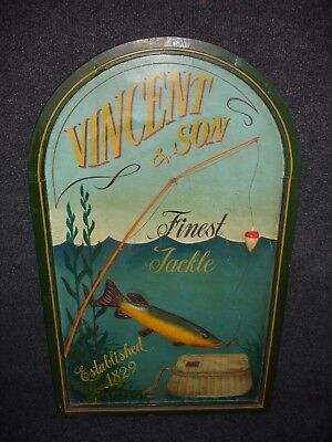 Vintage Retro Antique Vincent & Son Finest Tackle Established 1829 Fishing Sign • 180£