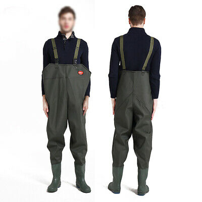 1mm PVC Waterproof Nylon Boot-Foot Chest Fishing Water Work Waders Green Size 8 • 15.50£
