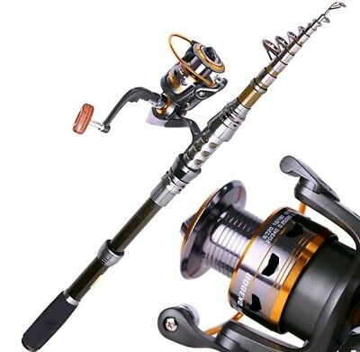 Fishing Rod And Reel Combo Gear Ratio 5:4:1  Telescopic Carbon Steel • 199.99£