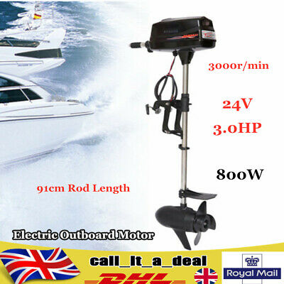 24V 3.0HP Electric Outboard Motor Engine For Fishing Aquaculture 800W 91cm Rod • 398.02£
