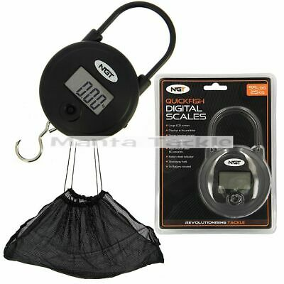 NEW Ngt 55lb 25kg Digital Scales + 36  Weigh Sling Carp Deluxe Weighing Net   • 19.99£