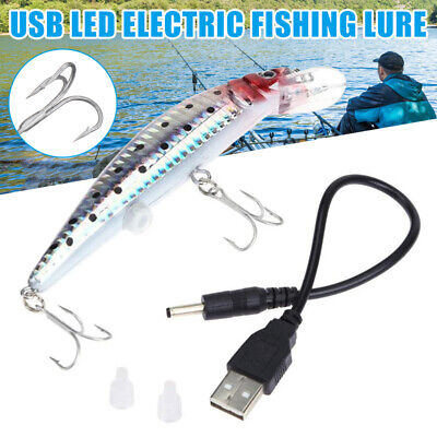 Rechargeable LED Lifelike Electric Twitching Fishing Lure Vibrate Bait With Hook • 7.99£