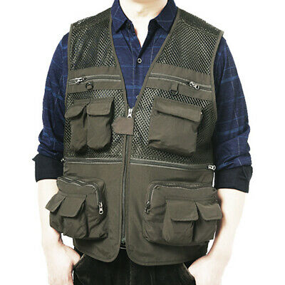 Men Fly Fish Vest Tops Multi Pockets Utility Reporter Waistcoat Hunting Shooting • 15.49£