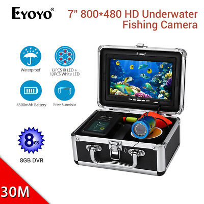 EYOYO 7  Inch Underwater Video Camera 8GB DVR 1000TVL 30M Carry Box Fish Finder • 135.99£