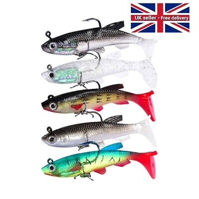 5 Soft Jelly Rubber Weighted Fishing Lure Paddle Tail Soft Lure Perch Pike • 6.49£