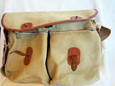 Vintage Brady Fishing / Hunting Canvas Bag. Leather Fitments. 40cm By 28cm. • 24.95£