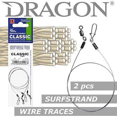 Lure Fishing Leader Wire Trace Dragon SURFSTRAND 2pcs 5-18kg Up To 40cm Pike Rig • 3.79£