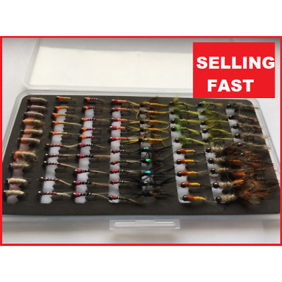 80 Tungsten Bead Trout Flies, Nymphs, 80 Per Boxed Set, For Fly Fishing SL95 • 26.99£