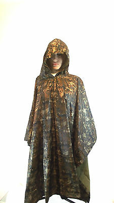 ARMY SPEC WATERPROOF HOODED PONCHO BASHA FESTIVAL FLECK-TARN  CAMO + Carry Bag • 14.99£