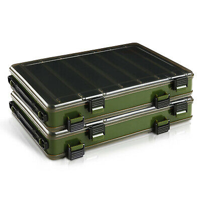 RODEEL 2Pcs Set Double Sided Ventilated Fishing Lure Bait Tackle Box Dark Brown • 15.99£