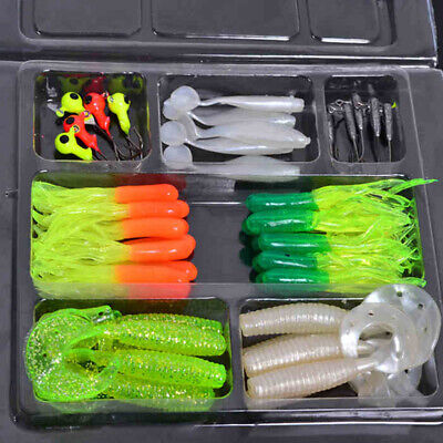 35 Pcs Soft Worm Fishing Baits Lures + 10 Lead Jig Head Hooks Simulation Tackle • 6.99£