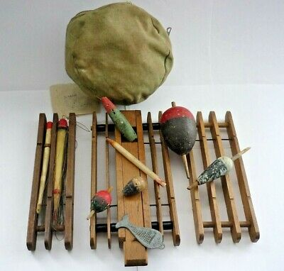 Three Antique / Wooden Float Winders With Celluloid Floats And Bag Of Old Bits • 45£