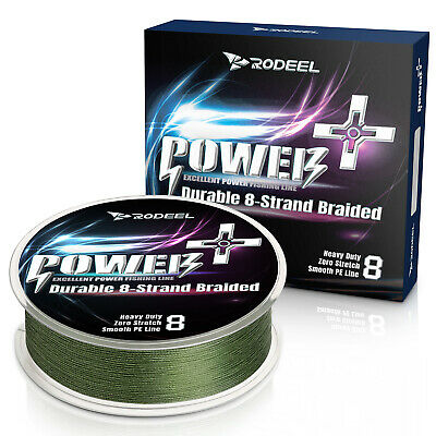 Rodeel PE Lines 8 Strands 300m 12-60lb Fishing Line Braided Abrasion Green Color • 9.99£