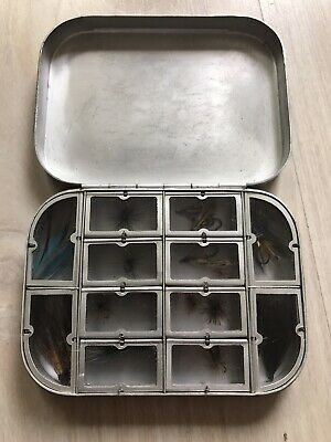 A  VINTAGE WHEATLEY SILMALLOY DRY/WET 12 WINDOWED FLY BOX With Flies • 30£