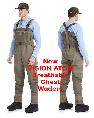 Vision NEW ATOM Stockingfoot Breathable Chest Waders Highest Quality Great Value • 150£