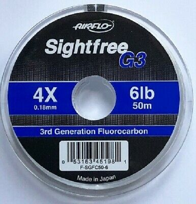 Airflo G3 Sightfree 3rd Generation Florocarbon 50m Fly Fishing Tippet Clear • 6.35£