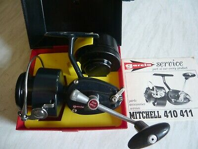 Boxed 1971 Garcia Mitchell 410 Fishing Reel With Yellow Tray & Spare Spool   • 65£