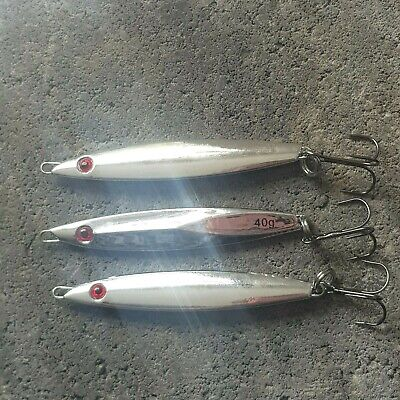 3 X 40gm SEA FISHING SILVER MINNOW LURES Mackerel SPINNERS  • 7.20£
