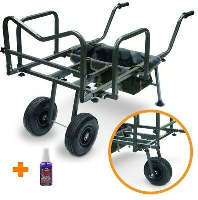 New Ngt Dynamic Carp Fishing Barrow Double Wheeled Carp Angling Tackle + Fishaid • 98.50£