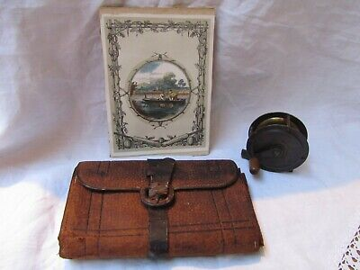 Antique Leather Fly Fishing Wallet & Brass Hand Cranked Fishing Reel • 45£