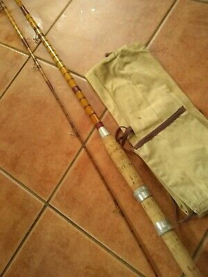 Vintage Original Split Cane & Bamboo Fishing Rod 9ft 8  2 Piece • 25£