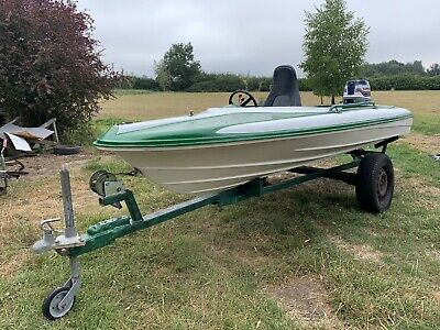 12ft Speedboat On Trailer With 25hp Evinrude- All Works - Good Fishing Boat • 650£