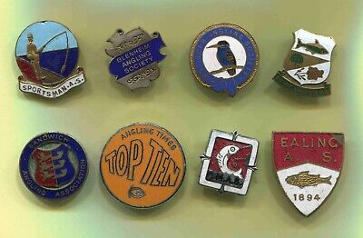 Job Lot Of 8 Enamel Angling Fishing Club Badges, Ealing, Blenheim Ect (FAULTS)  • 23£