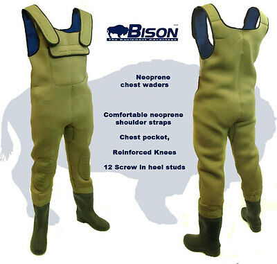 New Bison 5mm Neoprene Felt Sole Chest Waders All Sizes • 54.99£