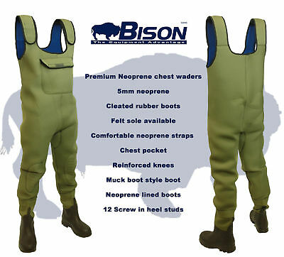 Bison Olive Green 5mm Neoprene Chest Waders  • 54.99£
