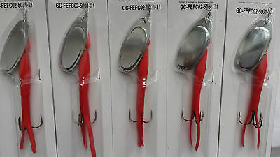 5 X 21g FLYING C LURES Red/Silver BLADE SPINNERS, Sea Fishing, FEFC02-5001-21 • 7.99£